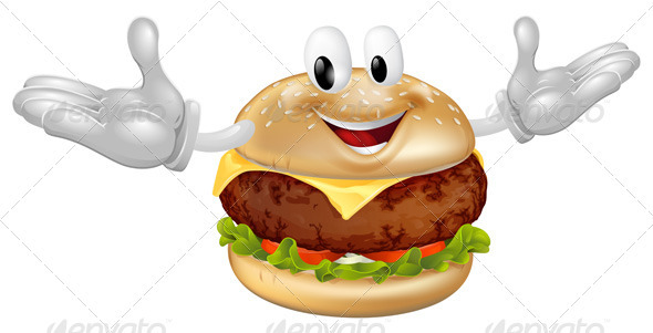 Burger Mascot Man - Food Objects
