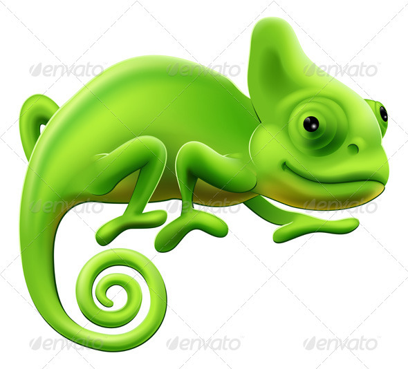 Cute Chameleon Illustration - Animals Characters