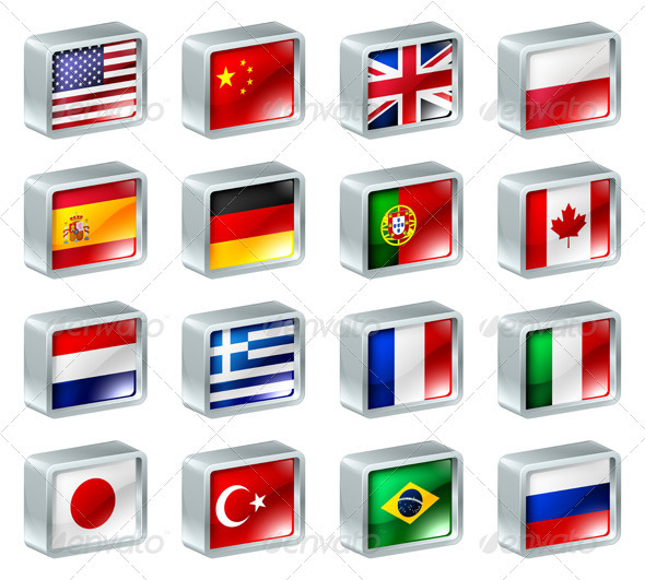 Flag icons buttons - Travel Conceptual