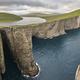 Dramatic atlantic rocky coastline cliffs landscape in Vagar. Faroe islands - PhotoDune Item for Sale