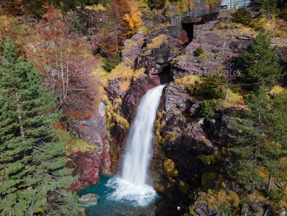 Waterfall in Pineta Valley, Ordesa and Monte Perdido National Park, Spain - Stock Photo - Images