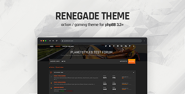 Renegade - Action / Gaming Responsive phpBB 3.3 Theme