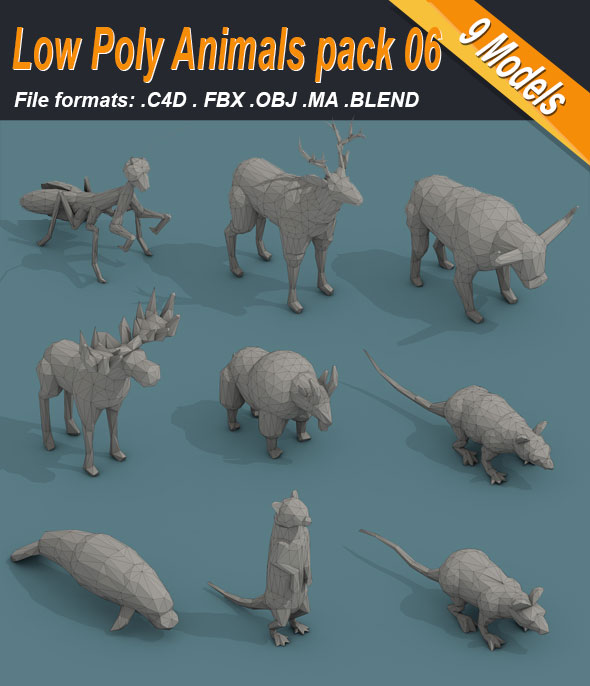 Low Poly 3d Art Animals Isometric Icon Pack 06