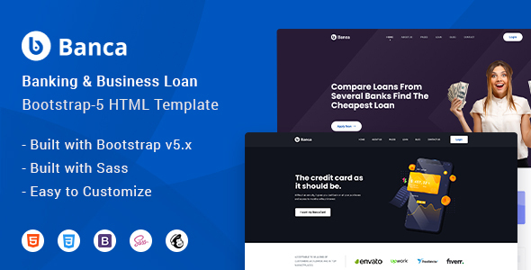Banca - Banking & Business Loan Bootstrap-5HTML Website  Template