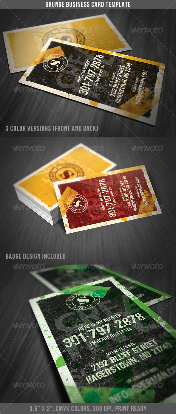 Grunge Business Card Template - Grunge Business Cards