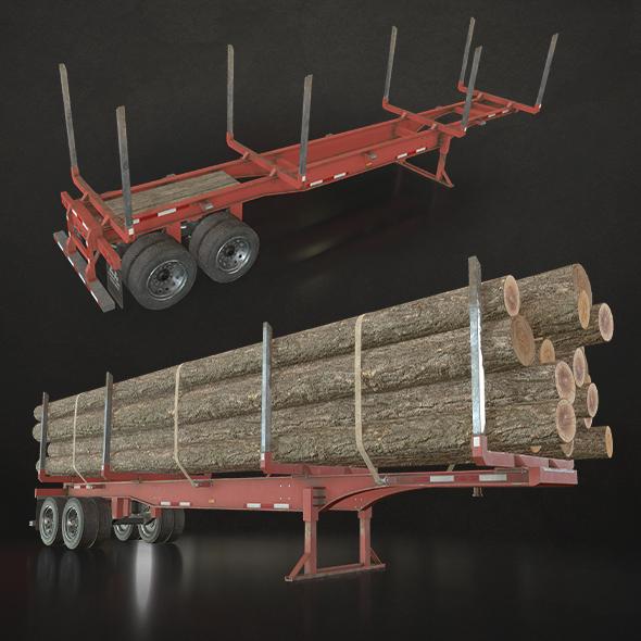 Logging Trailer - Low Poly