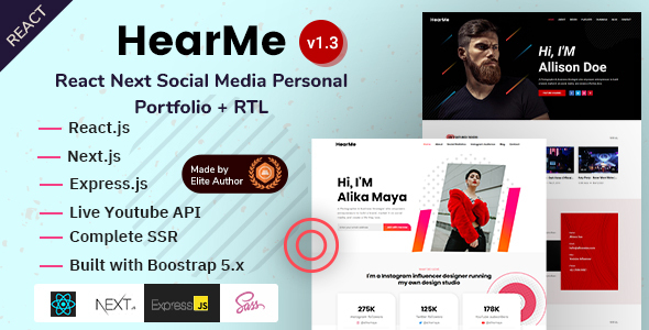 Incredible React Next Social Media Personal Portfolio - HearMe