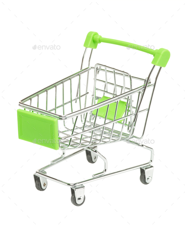 Toy metal shopping cart empty on white background isolate - Stock Photo - Images
