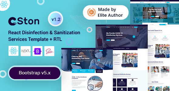 React Next Disinfection & Cleaning Services Template - Ston