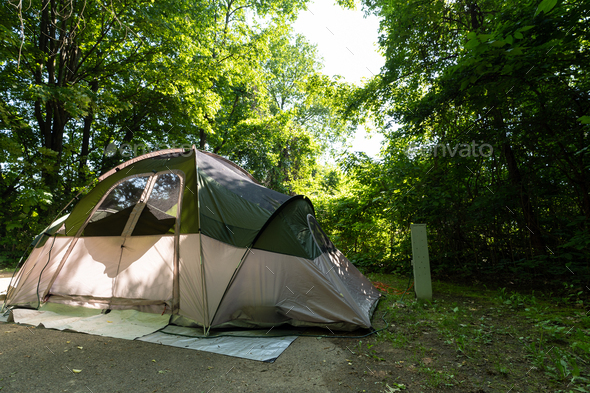 Camping tent on the campground in the spring - Stock Photo - Images