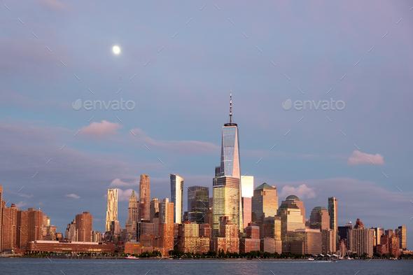 New York city lower Manhattan skyline at twilight - Stock Photo - Images