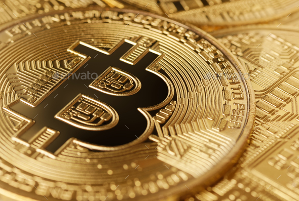 Group of golden bitcoins - Stock Photo - Images