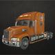 Semi Truck Tractor - Orange - Low Poly