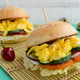 Vegetarian Diet burgers with sweet omelette and vegetables. Close up - PhotoDune Item for Sale