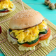 Vegetarian Diet burgers with sweet omelette and vegetables - PhotoDune Item for Sale