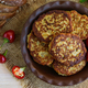 Dietary vegan cutlets of eggplant in a clay bowl. The top view - PhotoDune Item for Sale