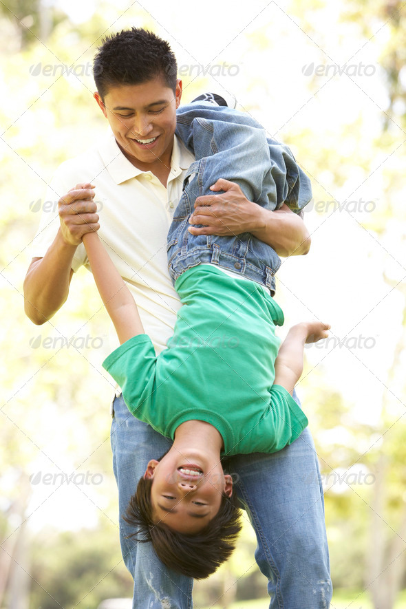Father With Son In Park - Stock Photo - Images