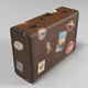 Retro suitcase baggage with travel stickers