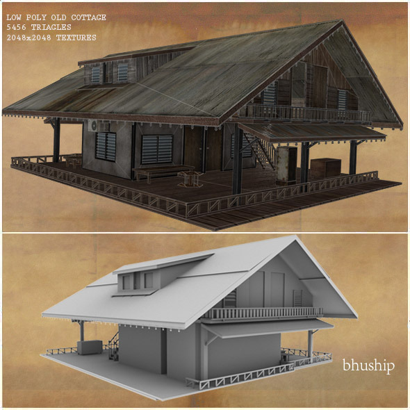 Low Poly Old Cottage 3d Model By Bhuship 3docean