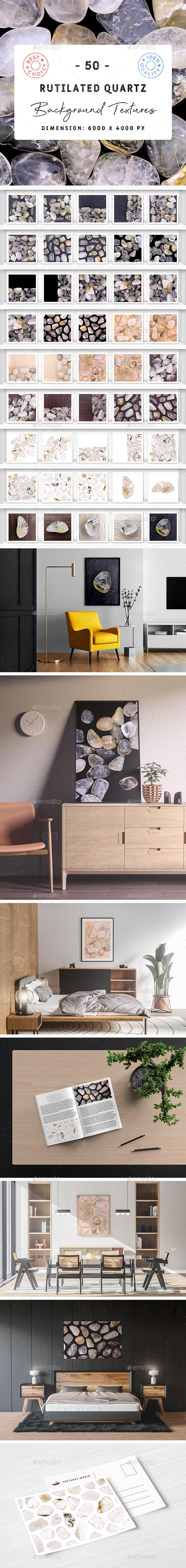 50 Rutilated Quartz Background Textures