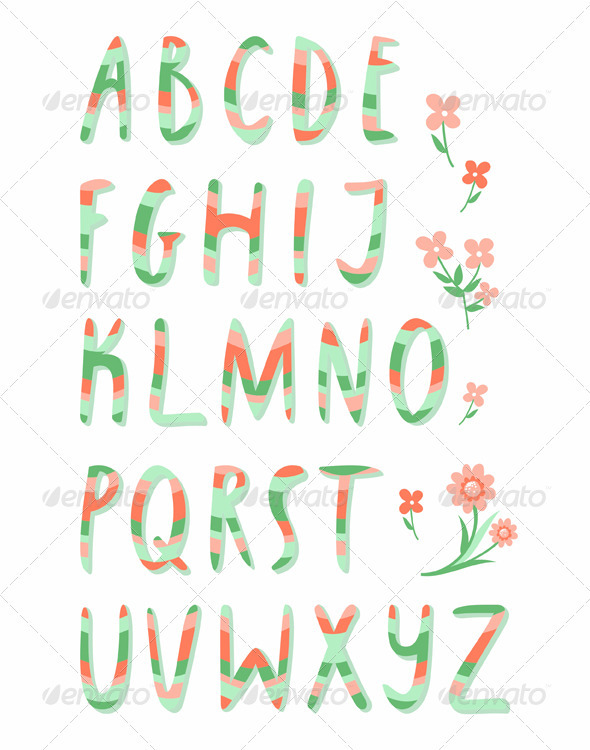 Striped alphabet - Decorative Symbols Decorative