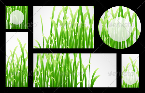 Vector Grass Banners - Backgrounds Decorative