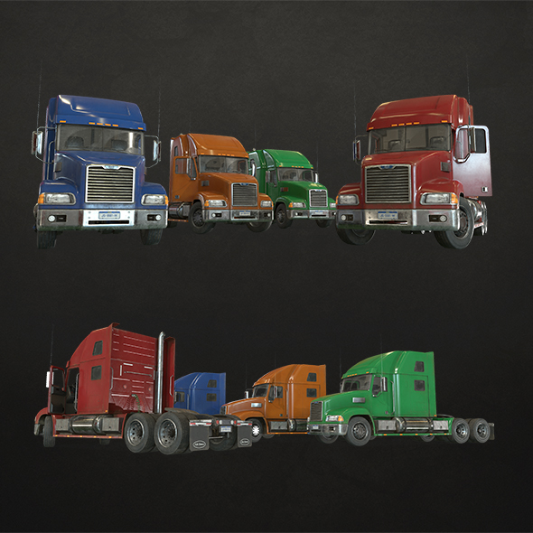 Semi Truck Tractor - Low Poly