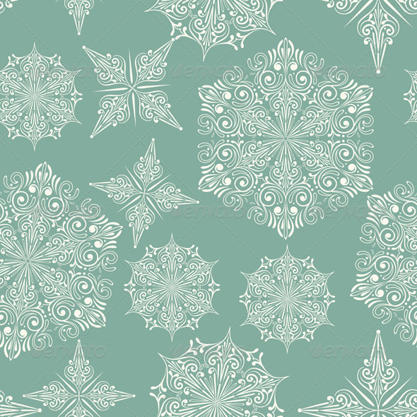 Vector Seamless Wintaer Pattern with Snowflakes - Patterns Decorative