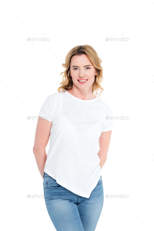 portrait of cheerful woman in white shirt looking at camera isolated on white - Stock Photo - Images
