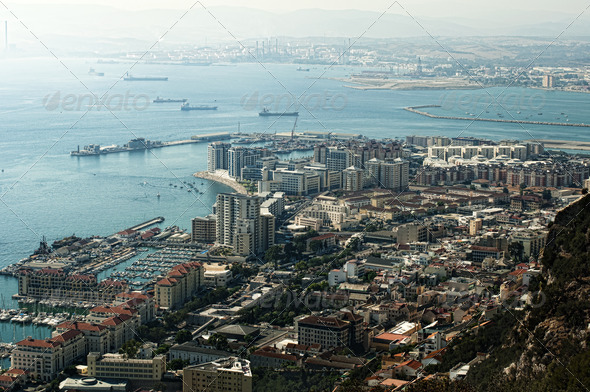 Gibraltar view from a high point - Stock Photo - Images