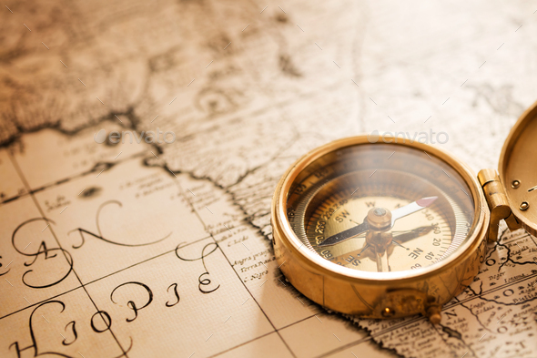 Compass on map - Stock Photo - Images