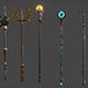 5 Fantasy Stylish Staff - PBR- Low Poly