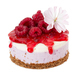 Cheesecake with fresh raspberries and jam isolated on white - PhotoDune Item for Sale