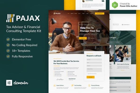 Pajax – Tax Advisor & Financial Consulting Elementor Template Kit