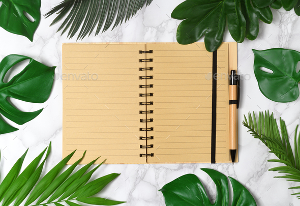 Notebook mockup with palm leaves - Stock Photo - Images
