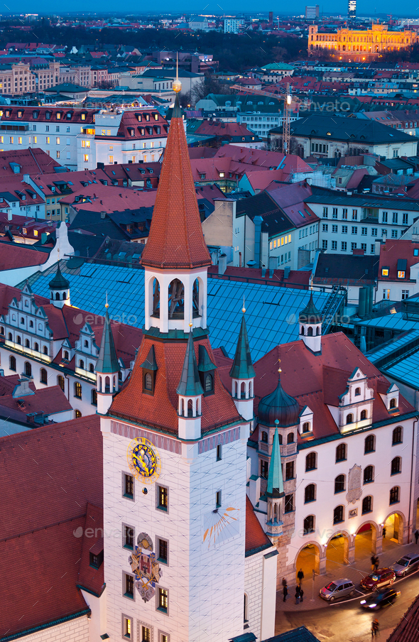 View of old town tower by night - Stock Photo - Images