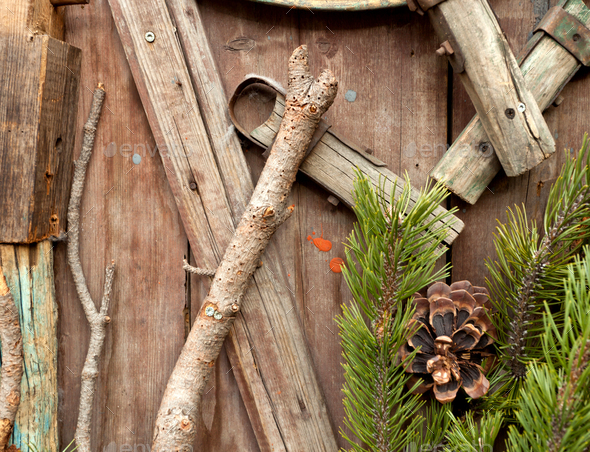 Christmas fir tree on a wooden background - Stock Photo - Images