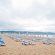 Sunny Beach on Black Sea in Bulgaria. Summer vacation travel holiday. Sunbeds. - PhotoDune Item for Sale