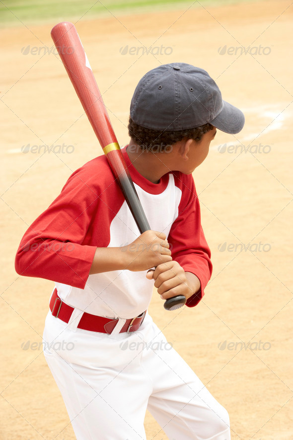 Young Boy Playing Baseball - Stock Photo - Images