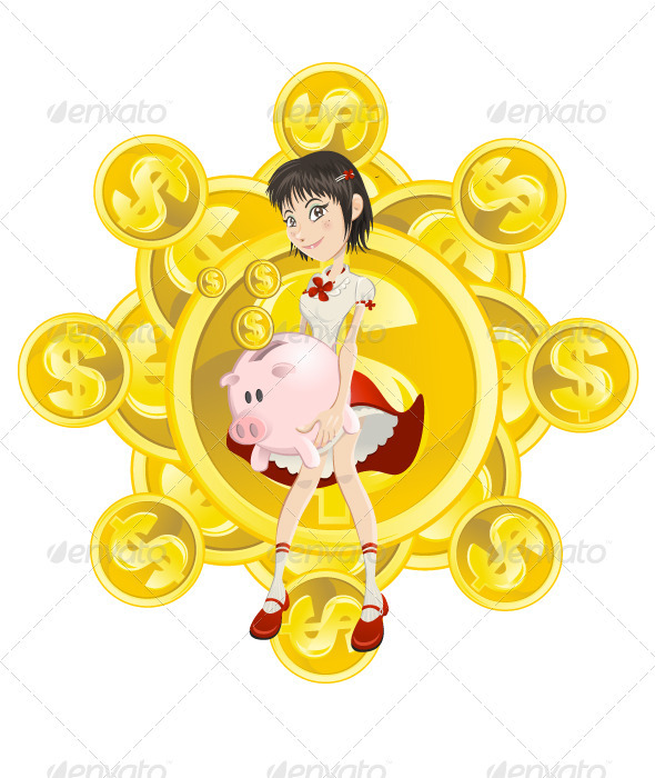 girl, piggy bank and gold coin - People Characters