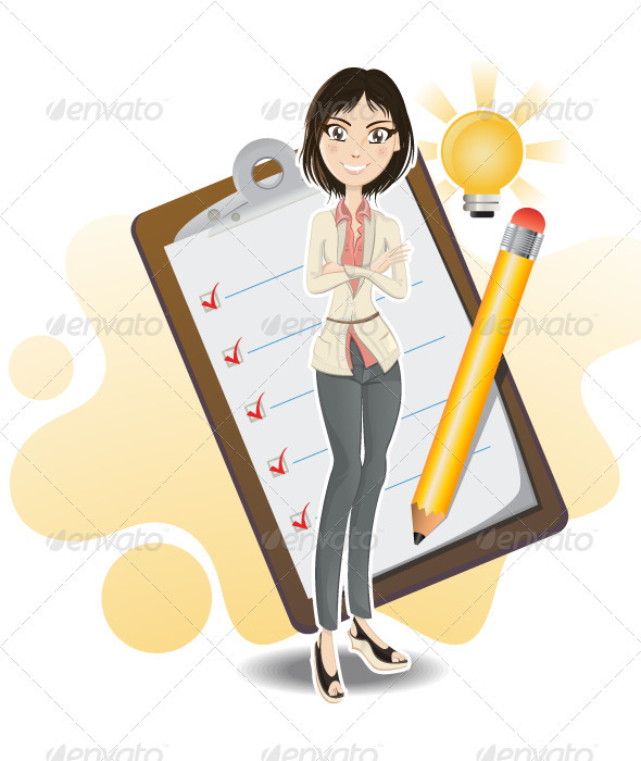 Smart business woman done with her checklist - People Characters