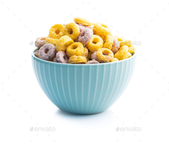 Colorful cereal rings in bowl. - Stock Photo - Images