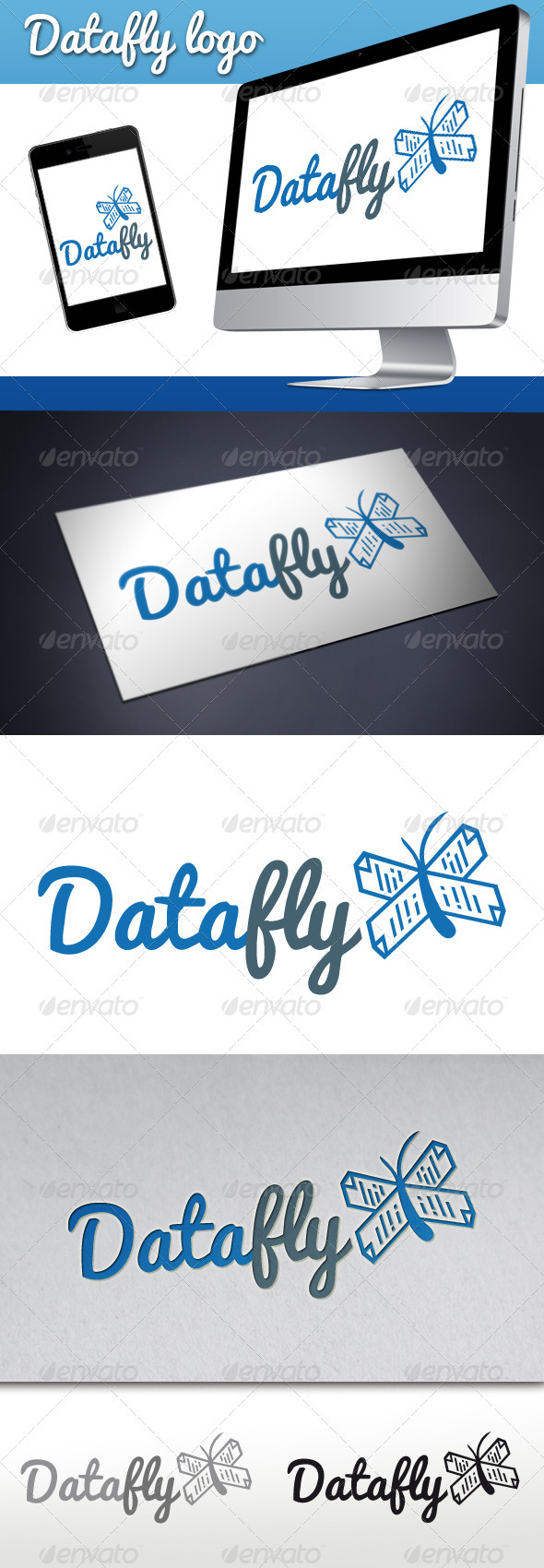 Data Butterfly Logo - Vector Abstract