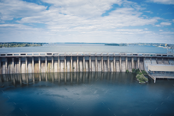 Dnieper hydroelectric power station in Zaporozhye - Stock Photo - Images
