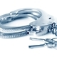 Metal handcuffs and keys isolated over white background - PhotoDune Item for Sale