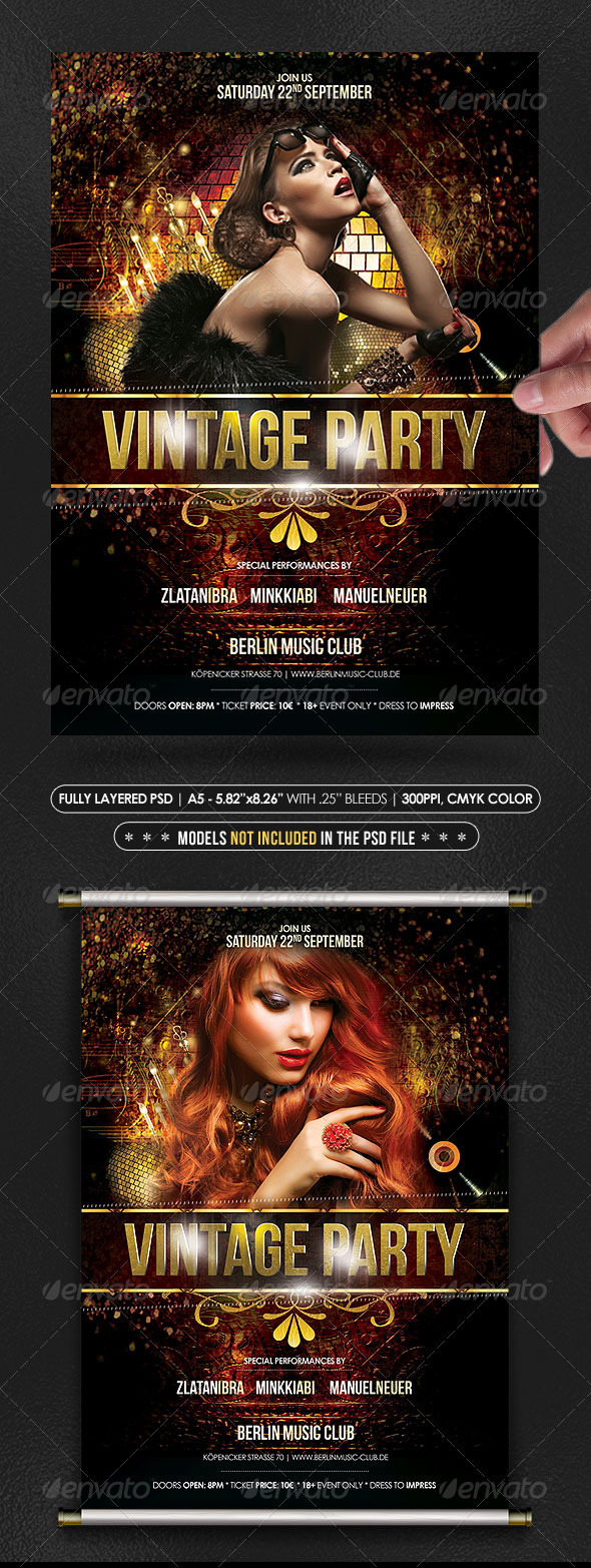Vintage Gold Party Poster/Flyer - Clubs & Parties Events
