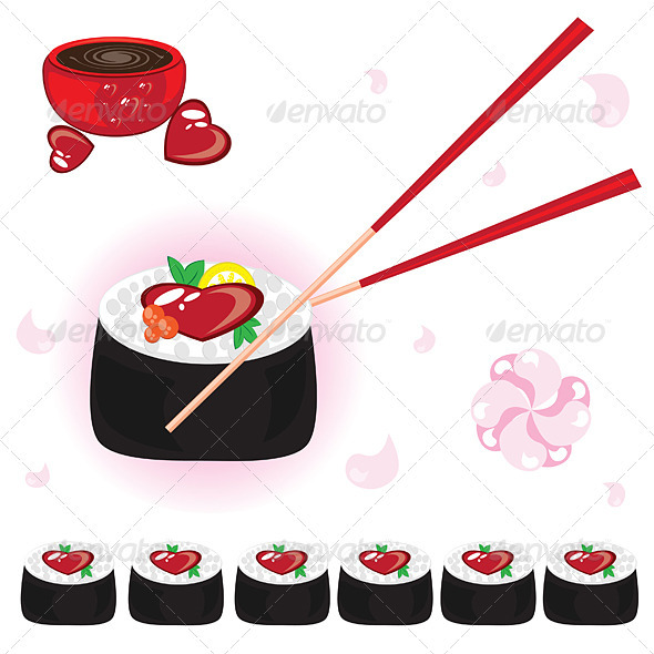 Japanese rolls with sauce and chopsticks - Food Objects