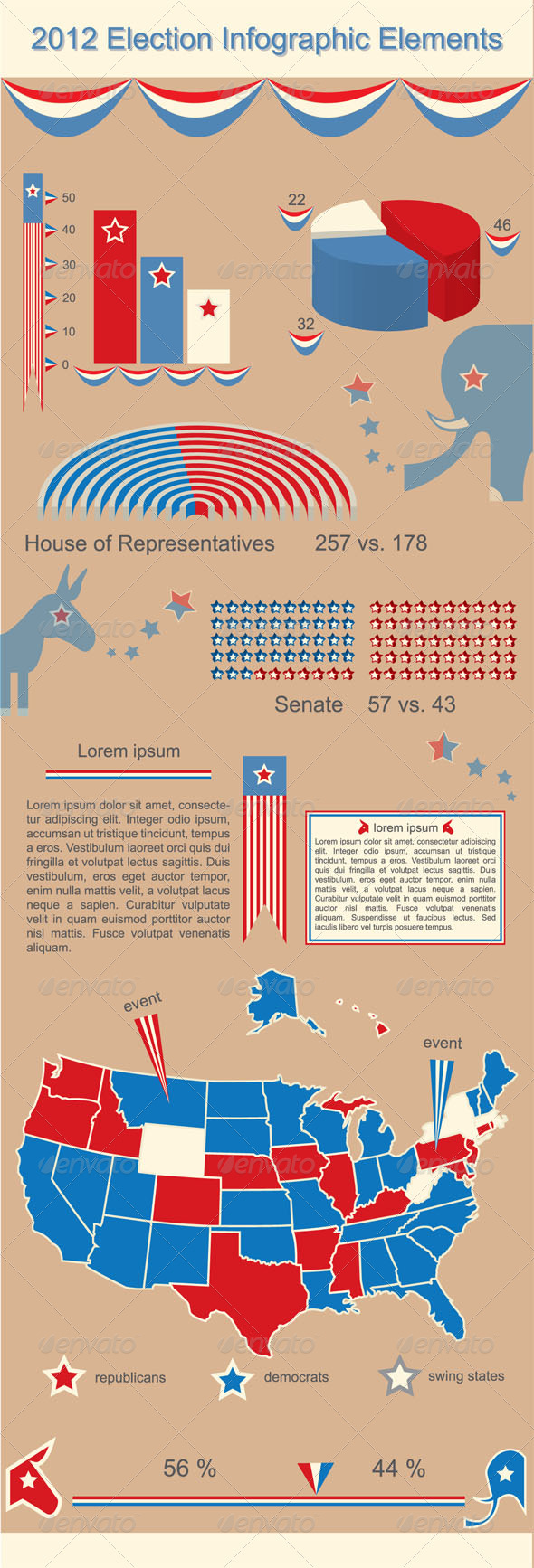 2012 Presidential Election Infographic Elements - Miscellaneous Vectors