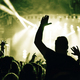 Crowd at a music concert with raising hands up, toned image - PhotoDune Item for Sale