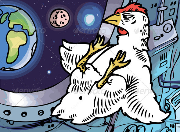 Space Chicken - Animals Characters